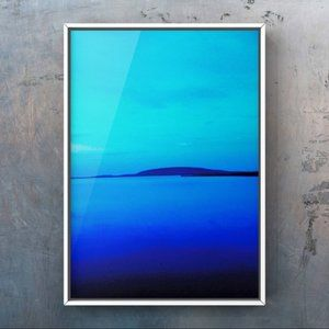 Watercolor blue black landscape abstract art print